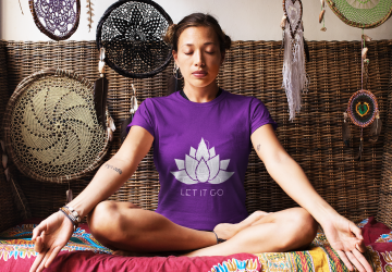 Purr Apparel Let it Go Yoga Zen Purple Tee